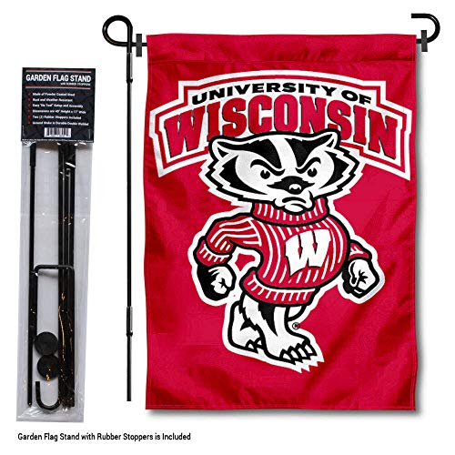 (College Flags and Banners Co. University of Wisconsin Bucky Garden Flag with Stand Holder)