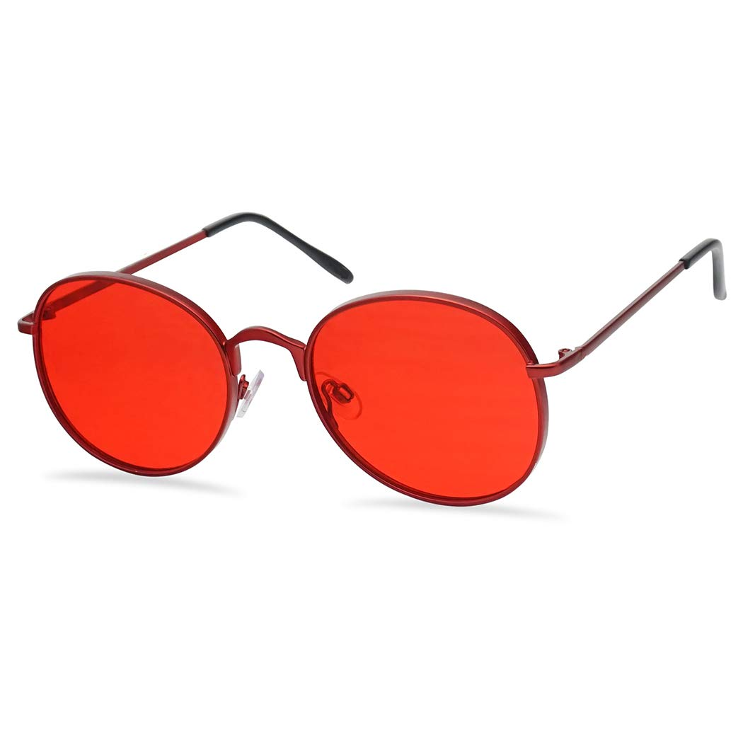 SunglassUP - Colorful Classic Vintage Round Flat Lens Lennon Style Sunglasses (Red, 53) by SunglassUP