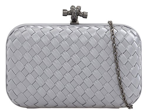 Small Hard Case Bag Grey Effect Silver Small Silver Lattice Clutch PaBxdOqA