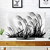 Auraisehome Cover for Wall Mount tv Silhouette of Bushes Wild Plants Wheat Field Grass with Twiggy Herbs Seasonal Picture Cover Mount tv W25 x H45 INCH/TV 47'-50'