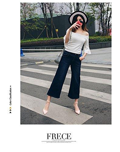 Nu Ol Blanc Sandales Xiaoqi Baotou Couleur Découpe Sexy Coréenne Stilettos Boucle Pointu Femme OnpfBnU