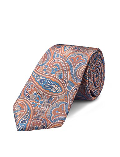 Origin Ties Mens Fashion 100% Silk XL Tie Handmade Orange Paisley Regular (Orange Paisley Tie)