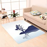 Nalahome Custom carpet e Silhouette of Lonely Tree by Lake with Mirror Effects Melancholy Illustration Indigo Baby Blue area rugs for Living Dining Room Bedroom Hallway Office Carpet (6.5' X 10')