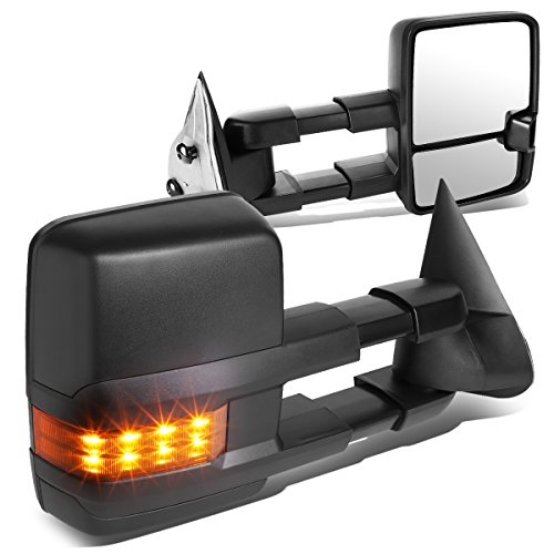 For Silverado/Sierra Pair of Black Manual Folding w/Amber LED Turn Signal Towing Mirrors