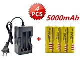 4(PCS) X 5000mAh Li-ion 18650 3.7V Rechargeable Battery + Smart Charger/Protected Rechargeable Lithium