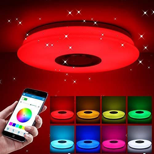 LED música altavoz con de 60W Bluetooth Lámpara RGB techo de kXZiTlOwPu