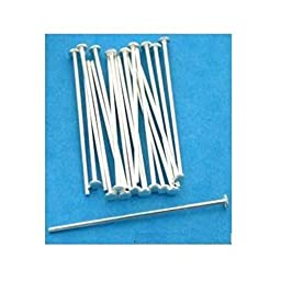 20 Head Pins Sterling Silver Stick Hat Beading 22 Gauge