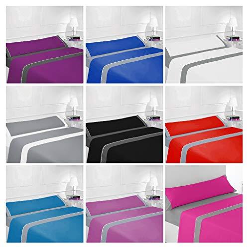 Energy Colors - Mix Gris - Juego Sabanas Completo 3 Piezas Microfibra Lisa (Gris - Rojo, 150_x_200_cm)