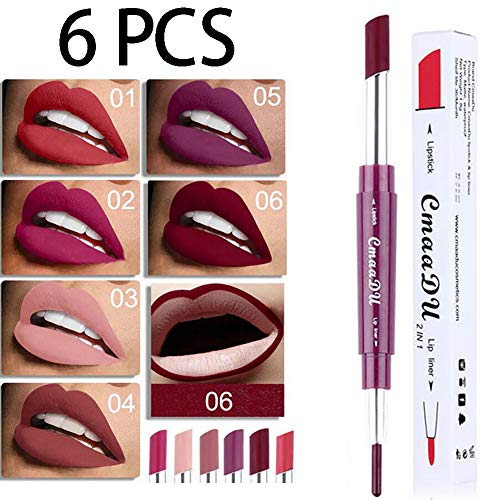 Ownest 6 Color Matte Lipstick Lip Liner Pencil,Double-End Long Lasting Waterproof Lipstick Set-6pcs