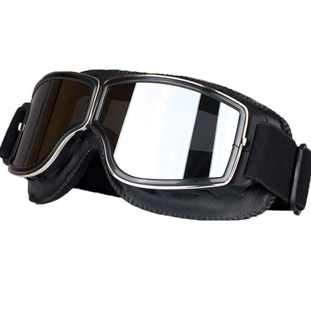 LEAGUE&CO Gafas de Moto Retro Vintage Gafas de Protección Gafas Piloto Gafas de Aviador, Gafas para Casco Harley Davidson Dyna Touring Trike Motocross ...