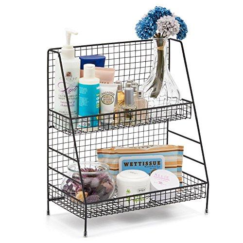 2-Tier Organizer Rack Countertop Shelf for Bathroom - Black