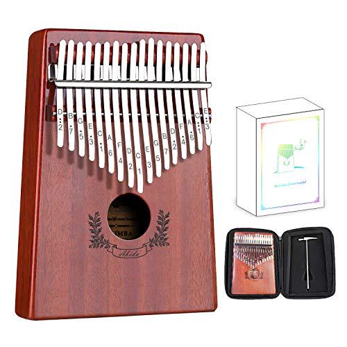 Abida Kalimba 17 Keys Thumb Piano EVA Waterproof Case Study Instruction Tuning Hammer, Solid Finger Piano Mahogany Body Portable Musical Instrument Gifts for Kids and Adult Beginners