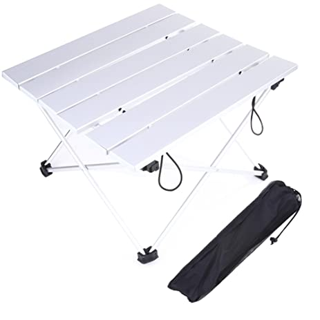 Chinatera Folding Outdoor Compact Table, Aluminum Portable Camping Table  With Carrying Bag (S: