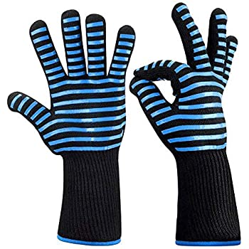 Exttlliy BBQ Oven Gloves Heat/Wear/Cut Reaistant Welding Mitts with Long Sleeve for Cooking Kitchen Baking Fireplace Grilling, 1 Pair (Blue)