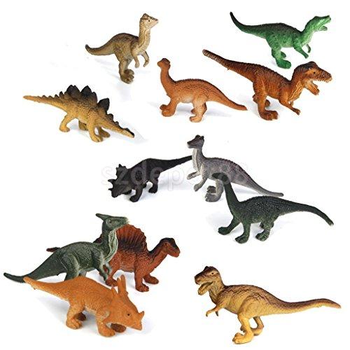 Set 12pcs Large Assorted vivid Dinosaurs Toys 7-8cm Plastic Dinosaur Figures