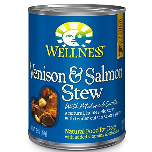 Wellness Thick & Chunky Natural Wet Canned Dog Food, Venison & Salmon Stew, 12.5-Ounce Can (Pack Of 12) For Sale