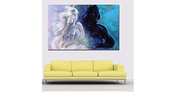 SADHAF Hd Imprimir imágenes de dos caballos corriendo para la impresión de la lona de la pared Decoración del hogar Sala de estar Mural A5 60x90cm: Amazon.es: Bricolaje y herramientas