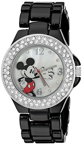 Disney Women's MK2069 Mickey Mouse Mother-of-Pearl Dial Black Enamel Bracelet Watch - Enamel Dial Watch