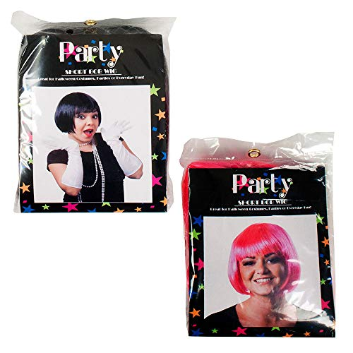Clever Home Ladies Bob Style Wigs - Set of 2 (Black, Pink) ()