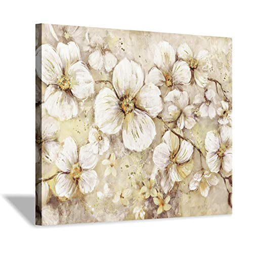 Flowers Canvas Wall Art Print: Golden Botanical Blossoms Graphic Art Painting for Office & Bedroom (24''x18'')