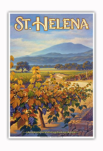 Pacifica Island Art - St. Helena Wineries - Collins Holystone Vineyards - North Coast AVA Vineyards - California Wine Country Art by Kerne Erickson - Master Art Print - 13in x 19in