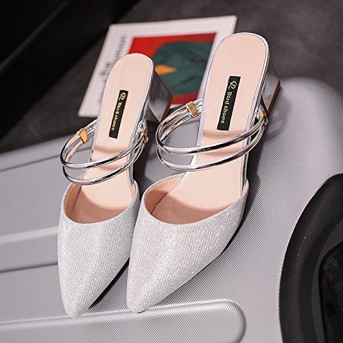 au Tongs femme La moitié et chaussons l'été IANGL d'un Baotou service de milieu silvery de d0SCgnqwx