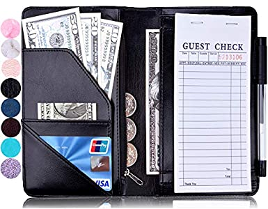 Waiter Server Book Waitress Books with Money Pocket /& Zipper for Check Pad Cards