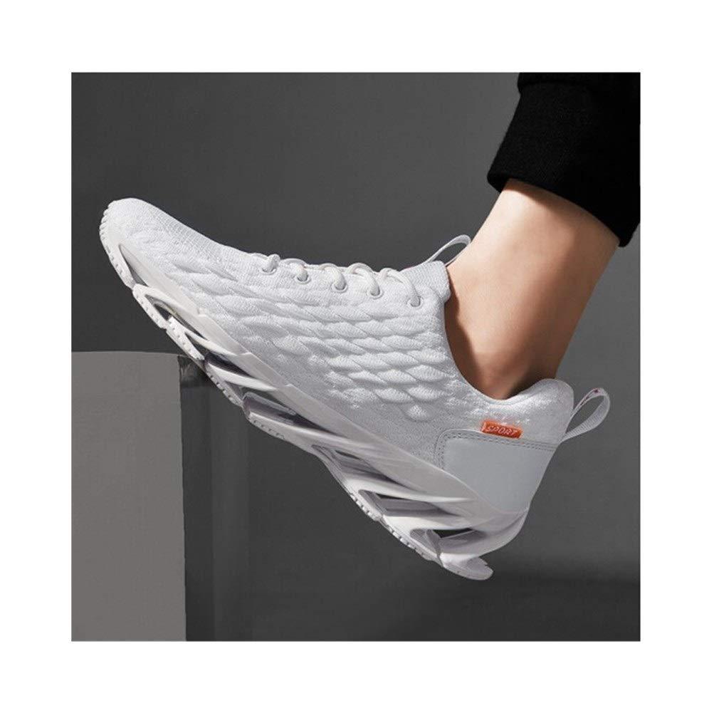 XIONGHAIZI Men's Shoes, Summer Shoes, Men's Casual Shoes, New Breathable Tide Blade Sports Men's Net Shoes, Black/White/Gray, Outdoor Best Partner (Color : White, Size : 44EU) by XIONGHAIZI