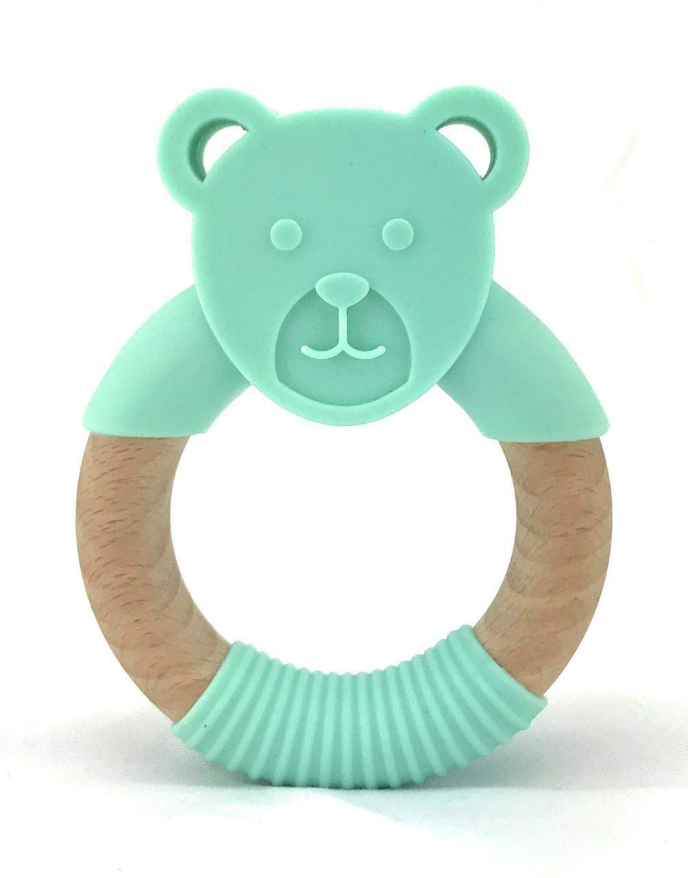 Oso Infantactical Organic Natural Beech Wood /& Bear Silicone Teething Ring 100/% BPA Free Silicone Wood Teether Teething Pain Relief Toy