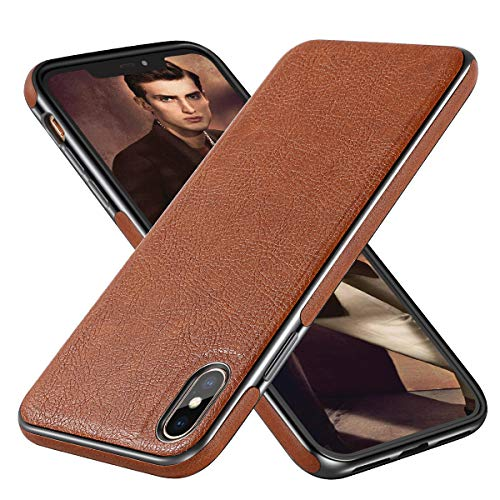(Diaclara iPhone Xs Max Leather Case 6.5'' Compatible with Apple 2018 Brown Cover Electroplating Luxury Stylish Sleeves Ultra Slim & Thin Soft TPU Bumper Anti-Slip Scratch Resistant Cases (Brown, 6.5) )