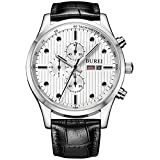 BUREI Men's Fashion Wirst Watches with Day Date Multifunction Chronograph Stopwatch White Dial Black Leather Strap