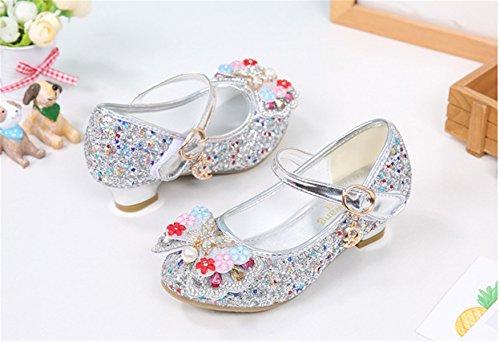 YOGLY Zapatos de Tacón de Niña Disfraz de Princesa Zapatos Brillar Lentejuelas Zapatillas de Baile