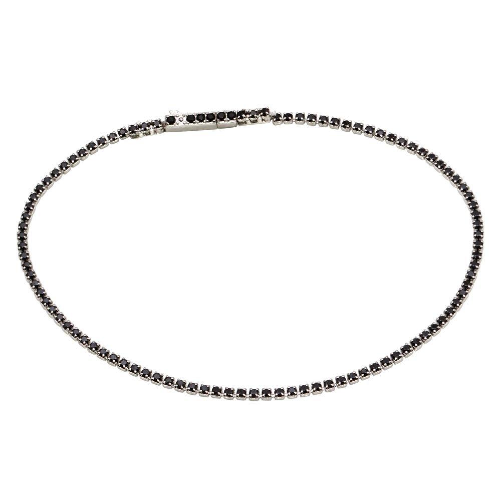 CloseoutWarehouse Small Black Cubic Zirconia Tennis Bracelet Rhodium Plated Sterling Silver