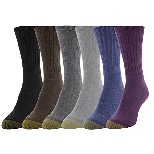 Gold Toe Women's Ribbed Crew Socks, 6 Pairs, Blackberry/Vapor Blue/Plum/Shale/Truffle Brown/Black, Shoe Size: - Plum Gold