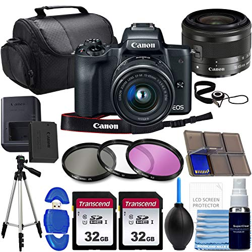 Canon EOS M50 Mirrorless Digital Camera with EF-M 15-45mm Lens 4K Video with 64gb Advanced Photo Travel Bundle