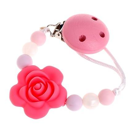 MIsha flor Collar para el chupete de silicona Juguete de bebe Rojo