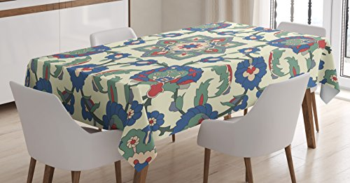 Arabian Decor Tablecloth by Ambesonne, Colorful Flower Shape Romantic Decoration Element Eastern Ethnic Art Print, Dining Room Kitchen Rectangular Table Cover, 52 X 70 (Arabian Party Decorations)