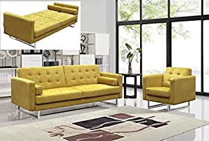 Claire Fabric Modern Versatile Sofa & Sofabed and Chair Set (Yellow)