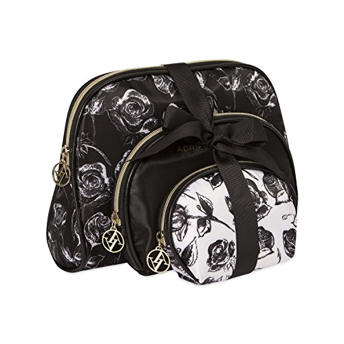 Adrienne Vittadini Cosmetic Makeup Bags: Compact Travel Toiletry Bag Set in Small, Medium and Large for Women and Girls - Black and White Floral
