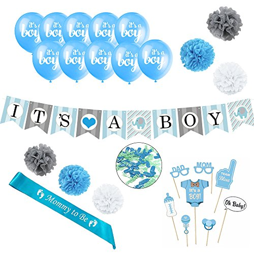 """Baby Shower Decorations Set for Boy - Set Includes """"It's A Boy"""" Banner, 10 Balloons, 8 Photo Props, Sash, 6 Pom Poms, and Confetti"""