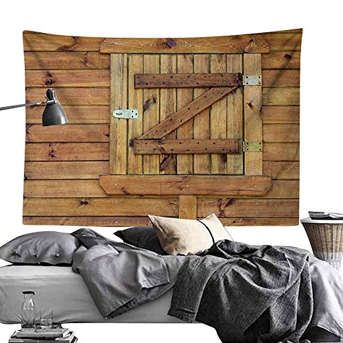 Bedroom Living Room Dormitory Tapestry Shutters Decor Closed Wooden Shutters Planks Rough Rustic Countryside Classic Design Home Decoration Hippie Tapestry W93 x L70 Golden Oak