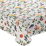 Lintex Enchanted Garden Flannel Backed Vinyl Tablecloth Indoor Outdoor 70-Inch Round