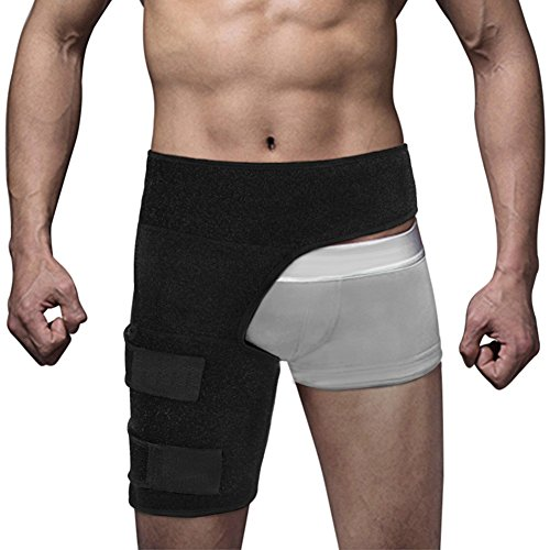 Groin Support Brace for Men and Women, Adjustable Neoprene Compression Wrap Protector for Hip Groin Strain Quad Hamstring Thigh Pain Relief (Black)