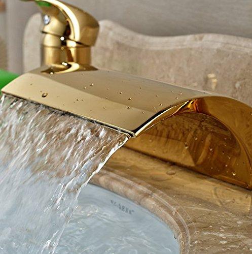 GOWE Modern Golden 3pcs Widespread Bathroom Waterfall Tub Filler Faucet Hand Shower Set Mixer Taps 4