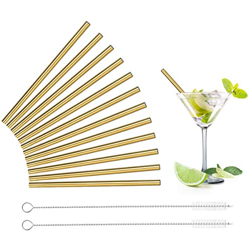 Teivio 12 Pack Metal Straws + Cleaning Brush, 5-inch Extra Short Reusable Stainless Steel Drink Straws for Cocktails, Small Glasses or Cups, and Child Use (Gold)