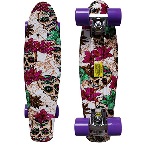 "RIMABLE Complete 22"" Skateboard (Pink Skull)"