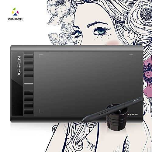 XP-PEN Star03 12' Graphics Drawing Pen Tablet Drawing Tablet Battery-free Stylus Passive Pen Signature Board with 8 Hot Keys (Black)