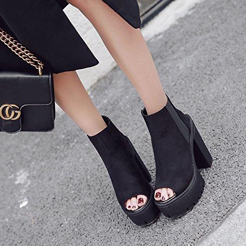 ZHZNVX super bocca scarpe black alta con da pesce donna nera primavera La rHOXwr