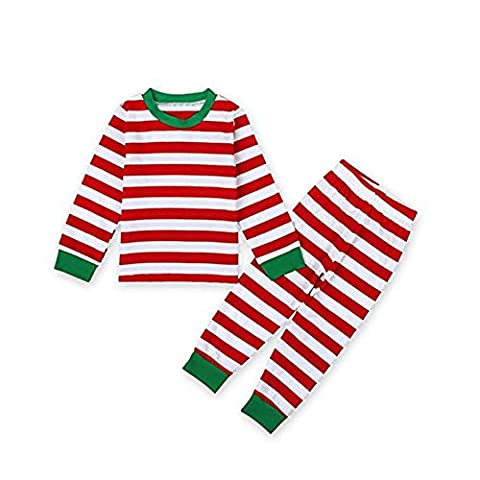 Baby Kid Boys Girls Xmas Striped Nightwear Pajamas Set Sleepwear1-7T (2T, Red)