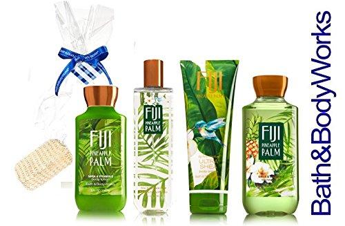 Bath & Body Works FIJI PINEAPPLE PALM Gift Set - Body Lotion - Body Cream - Fragrance Mist & Shower Gel + FREE Sisal Sponge by Bath & Body Works